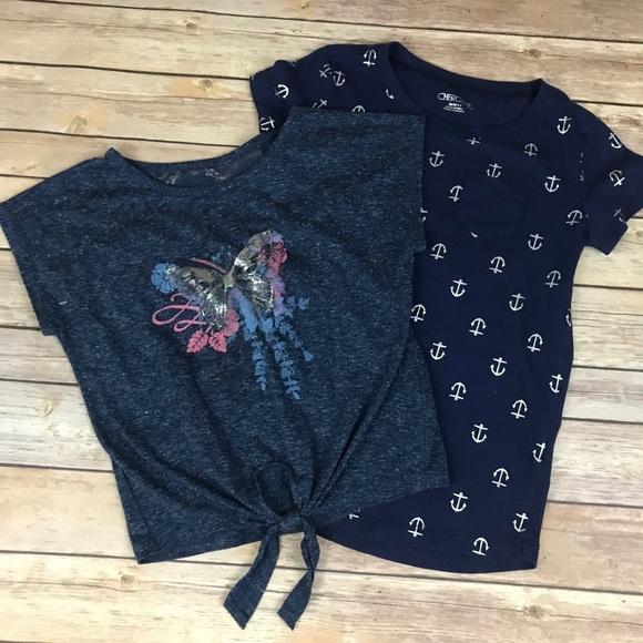 Cherokee  Girls Shirt   Sizes  M 7//8 NWT Blue /& White Tie front